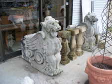 Hand Carved, Antique Stone Griffins